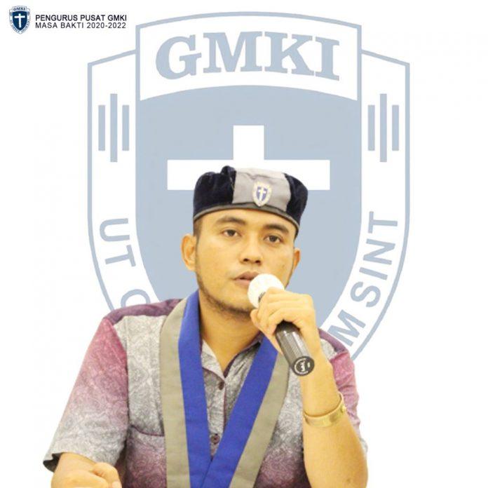 Ketua Umum Pengurus Pusat Gerakan Mahasiswa Kristen Indonesia Jefri Gultom
